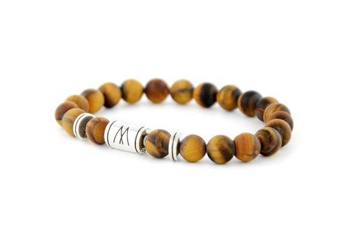 Minimal Brown Bracelet - Twin Silver Matt Brown Tiger Eye