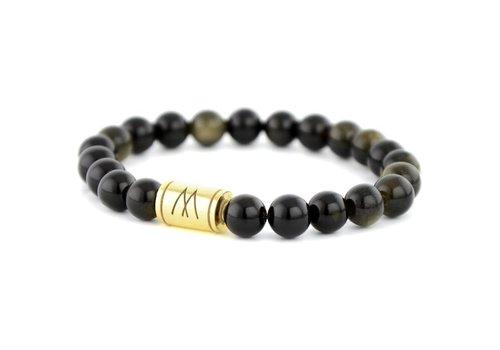 Minimal Black Bracelet - Gold Black Sheen Obsidian