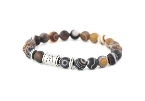 Minimal Brown Bracelet - Twin Silver Striped Agate