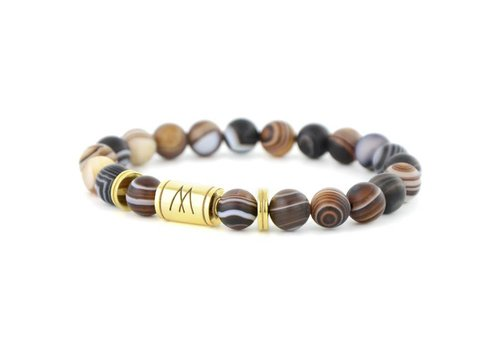 Minimal Brown Bracelet - Twin Gold Striped Agate