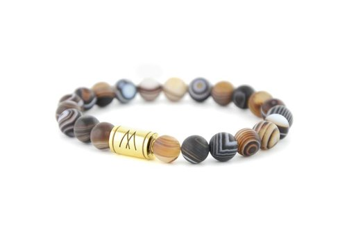 Minimal Brown Bracelet - Gold Striped Agate