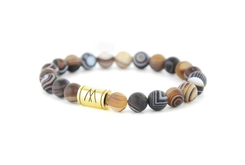 Brown Bracelet - Gold Striped Agate
