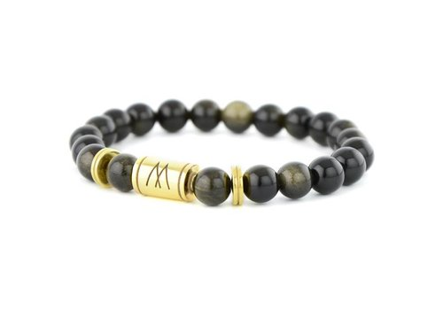 Minimal Black Bracelet - Twin Gold Black Sheen Obsidian