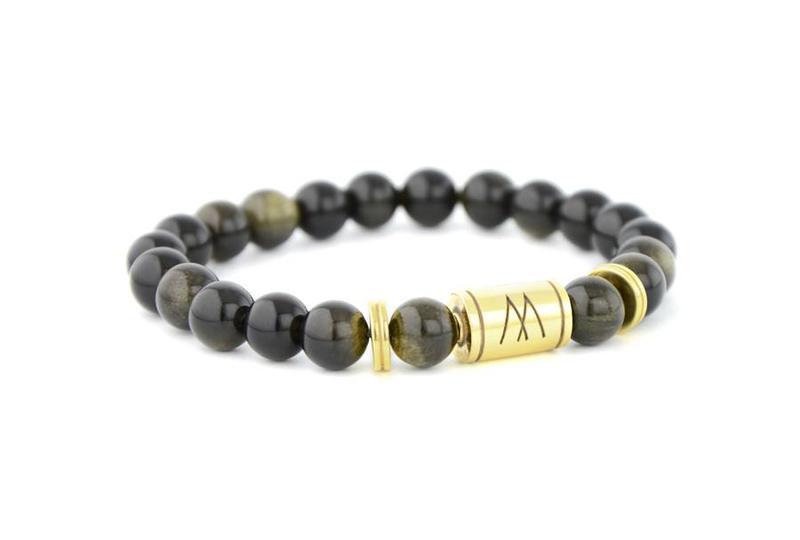 Black Bracelet - Twin Gold Black Sheen Obsidian