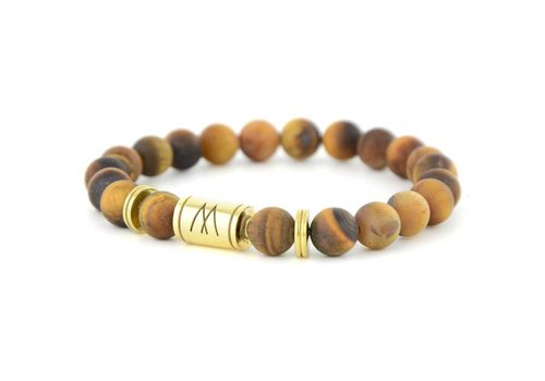 Minimal Brown Bracelet - Twin Gold Brown Tiger Eye Matt