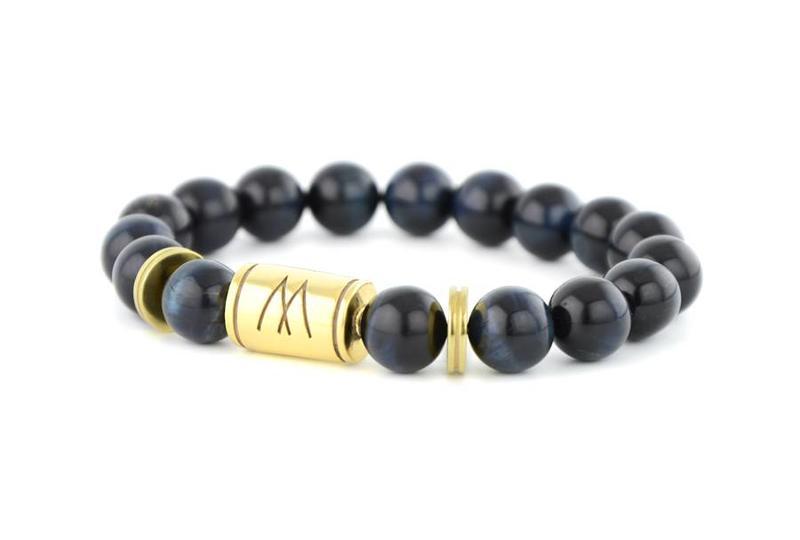 Blue Bracelet | Twin Gold Blue Tiger Eye