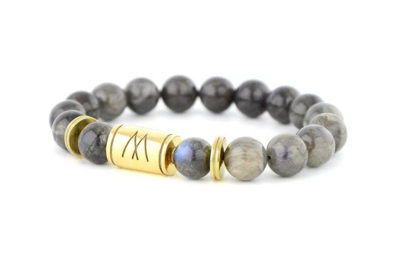 Grey Bracelet - Twin Gold Labradorite