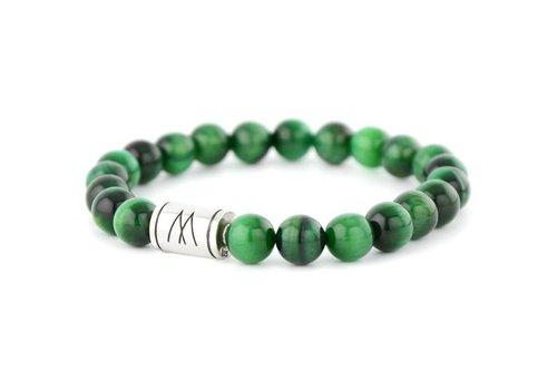 Minimal Green Bracelet - Silver Green Tiger Eye