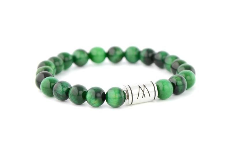 Green Bracelet - Silver Green Tiger Eye