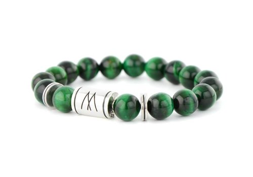 Prestige Green Bracelet - Twin Silver Green Tiger Eye
