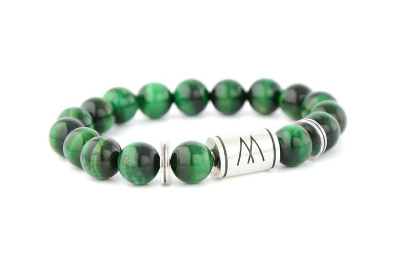 Green Bracelet - Twin Silver Green Tiger Eye