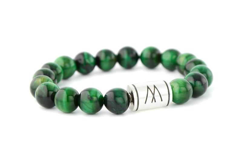 Green Bracelet - Silver Green Tiger Eye
