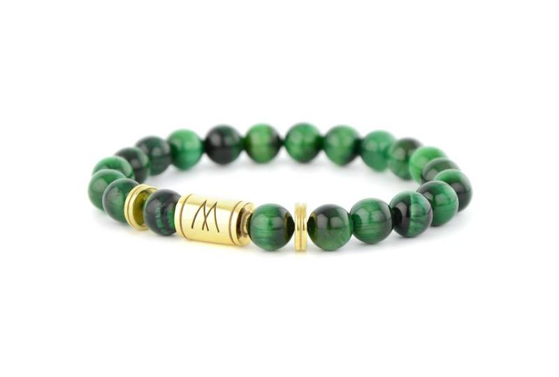 Green Bracelet - Twin Gold Green Tiger Eye