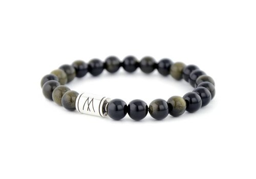 Minimal Black Bracelet - Silver Black Sheen Obsidian