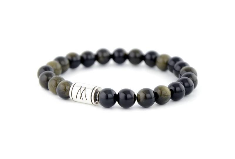 Black Bracelet - Silver Black Sheen Obsidian