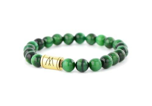 Minimal Green Bracelet - Gold Green Tiger Eye