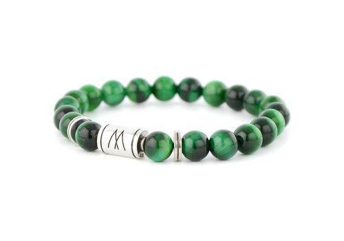 Minimal Green Bracelet - Twin Silver Green Tiger Eye