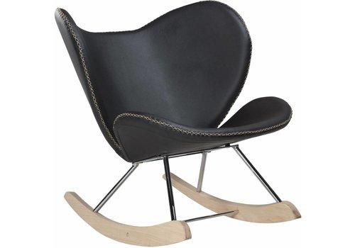 Butterfly schommelstoel zwart PU leer eiken