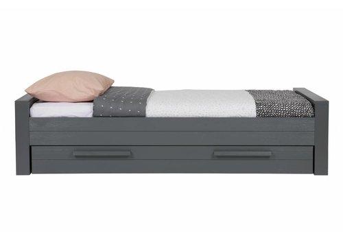 Dennis bed 90x200 cm grenen steel grey geborsteld