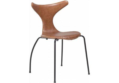 DAN-FORM Dolphin stoel lichtbruin leer / zwart