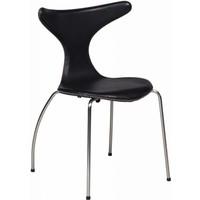 Dolphin stoel zwart leer / mat