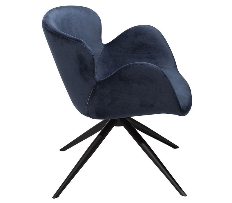 Gaia Loungefauteuil Blauw Fluweel