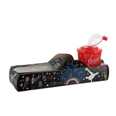 Offene Lunchbox mit Trinkbecher Musik 100Stk. €0,74p.Stk. / Beim Kauf von 500Stk. €0,66 pro Stück