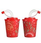 Themen-Mix (4ass.) Trinkbecher mit Strohhalm und Deckel 100Stk. €0,42p.Stk. / Beim Kauf von 400Stk. €0,40 pro Stück