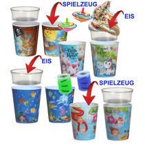 Kinderbecher Mix (4ass) mit Eisbehälter 75ml + Spielzeug 100Stk.