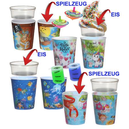 Kinderbecher Mix (4ass) mit Eisbehälter 75ml + Spielzeug 100Stk. €0,65p.Stk. / Beim Kauf von 500Stk. €0,62 pro Stück