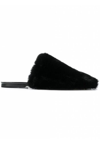 MAISON MARGIELA faux fur slip-on mules black