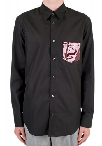 MAISON MARGIELA vinyl pocket shirt black burgundy