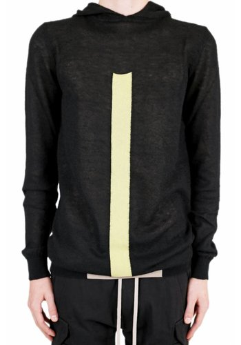 RICK OWENS hooded knitwear black pearl lime