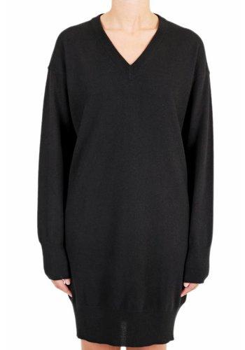 MAISON MARGIELA leather elbow patch knitwear dress