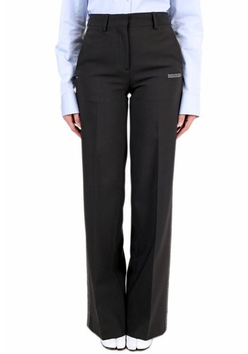 OFF-WHITE crepe side band wide leg pant black