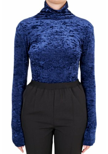 UNRAVEL PROJECT velour mock neck body dark blue