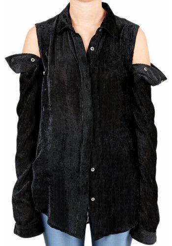 UNRAVEL PROJECT stripe vel open button shirt black