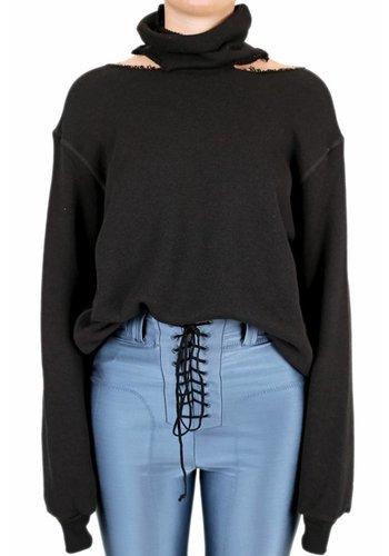 UNRAVEL PROJECT cot cashmere mock neck cut black