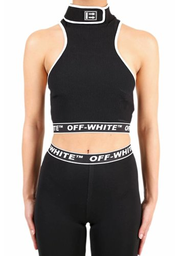 OFF-WHITE cannette crop turtleneck top black