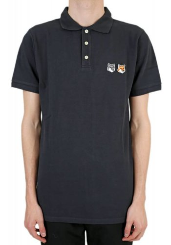 MAISON KITSUNE polo double fox head anthracite