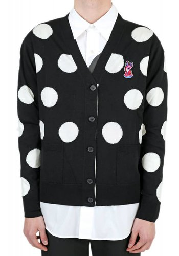 ACIDE MAISON KITSUNÉ classic cardigan all-over dots acide black/white