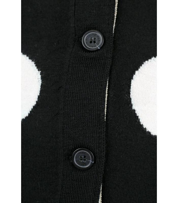 CLASSIC CARDIGAN ALL-OVER DOTS ACIDE BLACK/WHITE