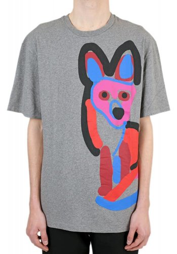 ACIDE MAISON KITSUNÉ tee-shirt acide fox print grey melange