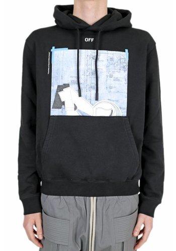 OFF-WHITE dondi squari slim hoodie black multicolor
