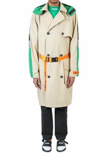 HERON PRESTON nylon hooded trench multicolor beige