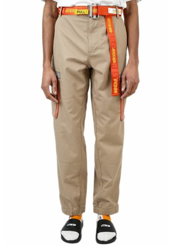 HERON PRESTON cargo logo pants big pockets beige