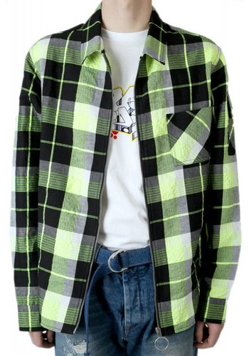 OFF-WHITE diag zip check shirt yellow multicolor