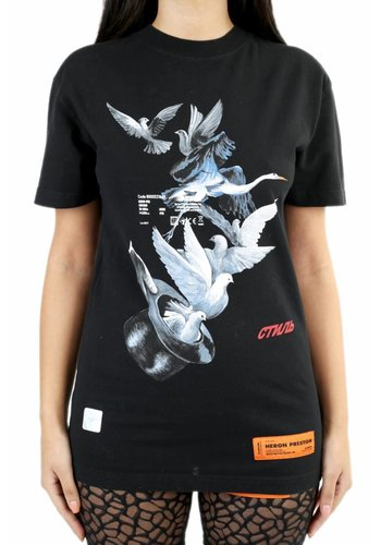 HERON PRESTON doves print fitted tshirt s/s black