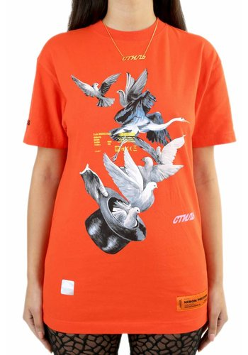 HERON PRESTON doves print fitted tshirt s/s coral red