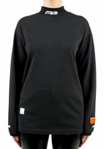 HERON PRESTON turtleneck fitted tshirt l/s black white